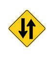 usa traffic road signs two - way traffic ahead vector image vector image