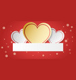 white and gold heart with decoration on red vector image vector image