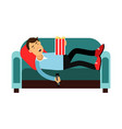 young man lying on a sofa and watching tv vector image