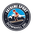 extreme sport downhill ski label vector image