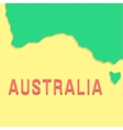 red inscription australia with part of the land vector image