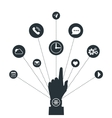 Hand with Smart Watch and technology functions vector image