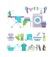 Colored Washing and Laundry Icons in Flat Style vector image