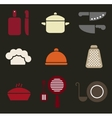 Colorful retro minimal kitchen cookware icon set vector image
