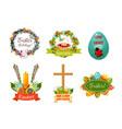 easter spring holiday cartoon symbol set vector image