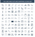 100 shipping icons vector image vector image