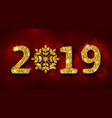 2019 text golden glitter background for happy new vector image vector image