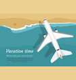 airplane flies over a sea view from above vector image vector image