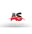 as a s brush logo letters with red and black vector image vector image