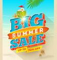 big summer sale design - summer vacation vector image vector image