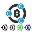 bitcoin euro collaboration flat icon vector image vector image