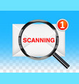 black magnifying glass scanning new e-mail vector image
