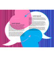 bubbles for a chat on a pink and blue striped vector image vector image