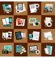 Business workplace with office things vector image vector image