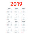 calendar 2019 week starts on sunday vector image vector image