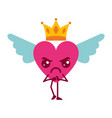 cartoon heart in love angry kawaii wings and crown vector image