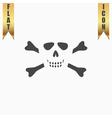 Cartoon skull with bones icon vector image vector image