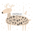 Christmas deer with icon set vector image
