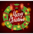 Christmas greeting card and background wreath vector image vector image