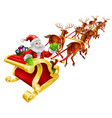 christmas santa claus flying in sleigh vector image vector image