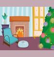 christmas tree home balls decoration chair cushion vector image