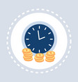 clock with golden coins time is money deadline vector image