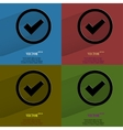 Color set check mark Flat modern web button with vector image vector image