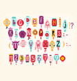 colorful cartoon alphabet on chinese lanterns vector image