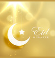 crescent moon and star on golden background for vector image vector image