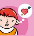 cute boy in love cartoons vector image vector image