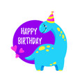 cute greeting card with a dinosaur party vector image vector image