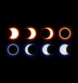 different phases of solar and lunar eclipses vector image vector image