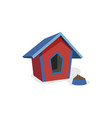doghouse booth kennel and bowl for eating vector image vector image