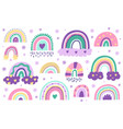 doodle nursery rainbows hand drawn scandinavian vector image vector image