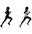 female runner in color sportswear and silhouette vector image vector image