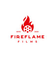 fire flame on roll film for production house or vector image