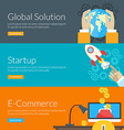 Flat design concept for global solution startup vector image vector image