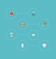 flat icons spice fast food chef hat and other vector image vector image