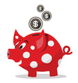 Funky Red Money Pig - Piggy Bank with Dollar Coins vector image vector image