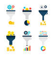 Funnel Chart Flat Objects Set isolated over White vector image vector image