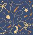 golden chains straps and charms seamless pattern vector image vector image