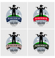 golf club logo design artwork a golfer posing vector image
