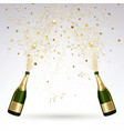 greeting card with champagne and gold confetti vector image vector image