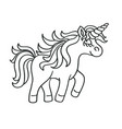 hand drawing outline walking unicorn icon vector image vector image