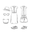 Hand drawn summer clothes for girl vector image vector image