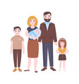 happy family portrait mother holding newborn baby vector image vector image