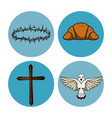 holy week round icons vector image vector image
