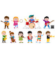 kids playing musical instruments child music band vector image
