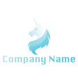light blue unicorn head above blank text space vector image vector image
