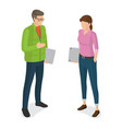 man and woman with laptops cartoon characters vector image vector image